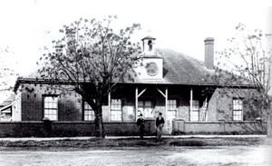 Guildford Courthouse showing the Clocktower that was on the building between 1872 and 1901